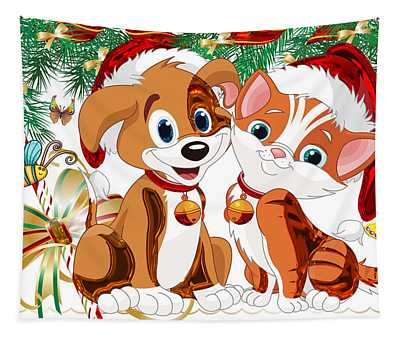 Dog And Cat Christmas Series 01 Tapestry