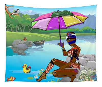 Girl By The Lake Tapestry