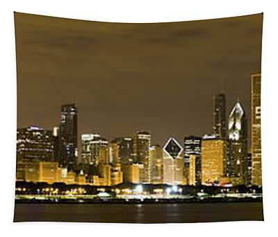 Chicago Skyline At Night Tapestry