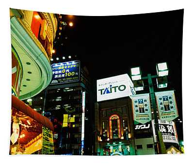 Low Angle View Of Buildings Lit Tapestry
