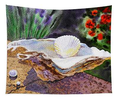 Sea Shell And Pearls Morning Light Tapestry