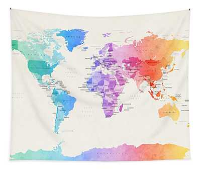 Watercolour Political Map Of The World Tapestry
