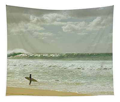 Surfer Standing On The Beach, North Tapestry