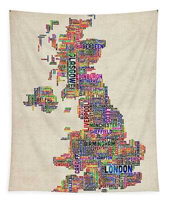 Great Britain Uk City Text Map Tapestry
