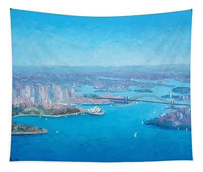 Sydney Harbour And The Opera House Aerial View  Tapestry