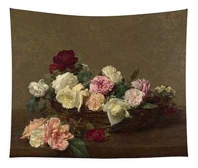 A Basket Of Roses Tapestry