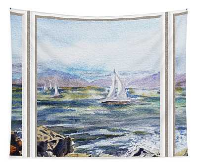 A Bay View Window Rough Waves Tapestry
