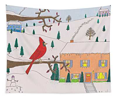 A Cardinal Christmas Tapestry