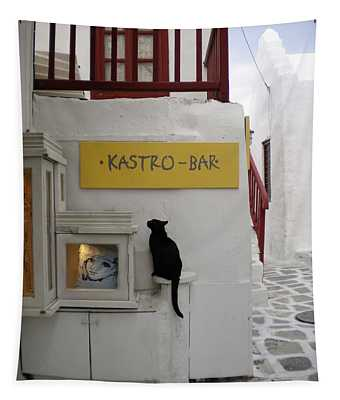 A Curious Cat In Mykonos Tapestry