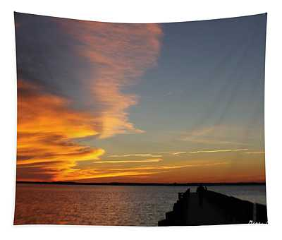 A Dock Walking Sunset Tapestry