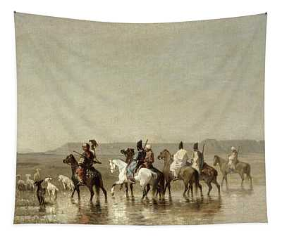 A Falcon Hunt, 1862 Oil On Canvas Tapestry