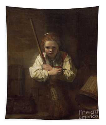 A Girl With A Broom Tapestry
