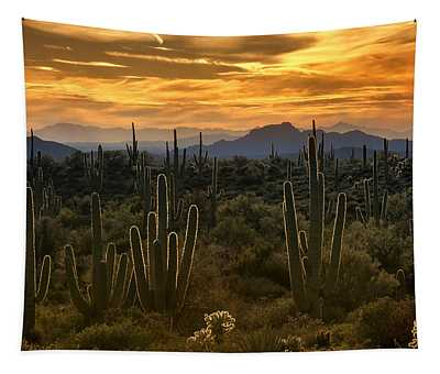 A Golden Sonoran Sunset  Tapestry