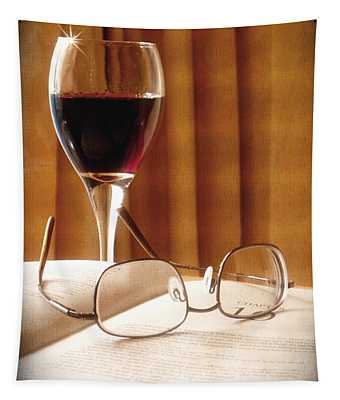A Good Book And A Glass Of Wine Tapestry