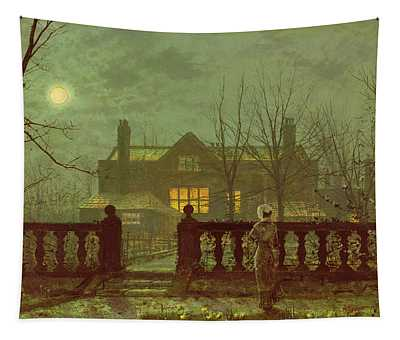 A Lady In A Garden By Moonlight Tapestry