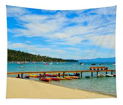 A Lake Tahoe Pier View Tapestry