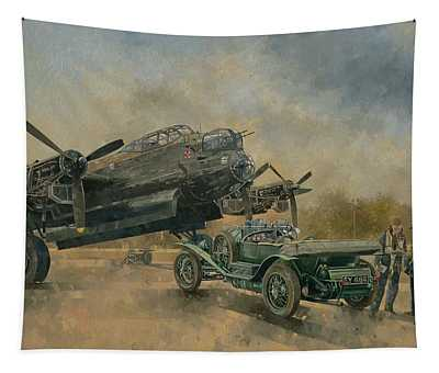 A Lancaster And A Bentley, 2000 Oil On Canvas Tapestry