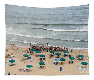 A Lifeguard Gives A Safety Briefing To Beachgoers In Ocean City Maryland Tapestry