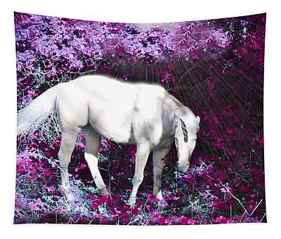 A Magical Unicorn In My Garden Tapestry