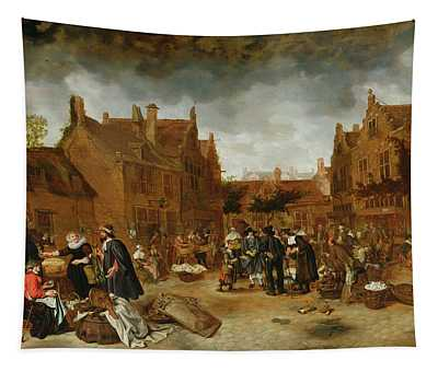 A Marketplace In Winter, 1653 Tapestry