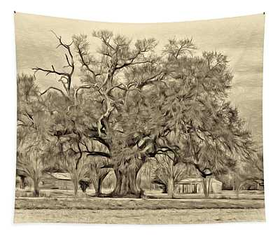 A Mighty Oak - Paint Sepia Tapestry