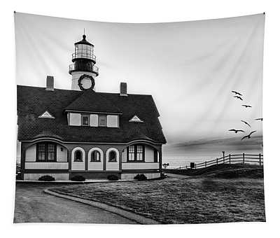 A New Day At Portland Head Light Bw Tapestry
