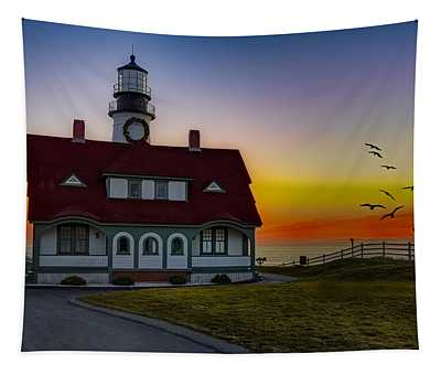 A New Day At Portland Head Light Tapestry