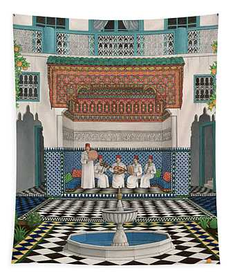 A Riad In Marrakech, 1992 Acrylic On Canvas Tapestry