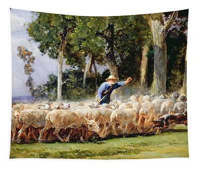 A Shepherd With A Flock Of Sheep Tapestry