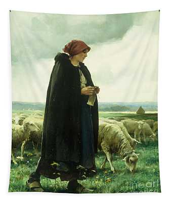 A Shepherdess With Her Flock Tapestry