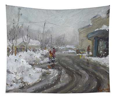 A Snow Day At Mil-pine Plaza Tapestry