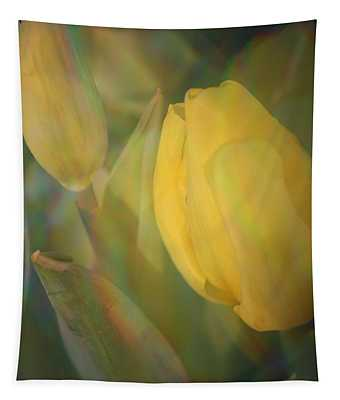A Touch Of Gold - Impressionistic Tulips Tapestry