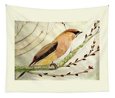 A Waxwing In The Orchard Tapestry