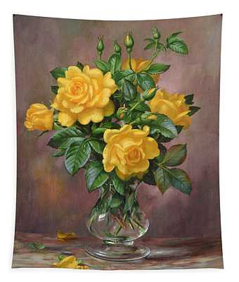Radiant Yellow Roses Tapestry