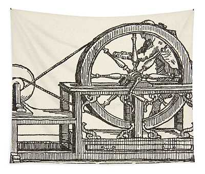 Abbe Nollets Electricity Machine, 1746 Tapestry