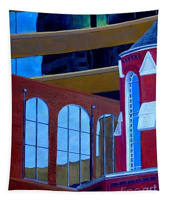 Abstract City Downtown Shreveport Louisiana Urban Buildings And Church Tapestry
