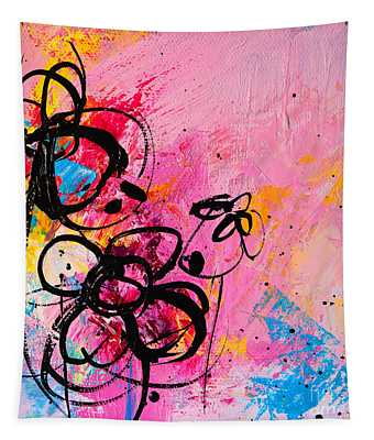 Abstract Flowers In Hot Pink 1 Tapestry
