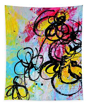Abstract Flowers Silhouette 5 Tapestry