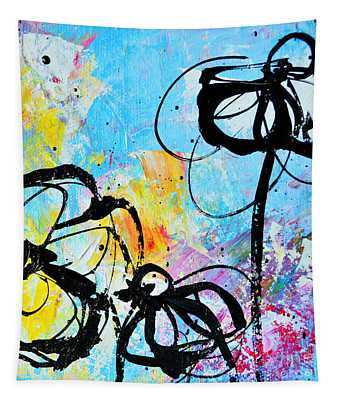 Abstract Flowers Silhouette 6 Tapestry