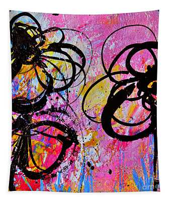 Abstract Flowers Silhouette 7 Tapestry