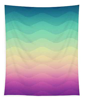 Abstract Geometric Candy Rainbow Waves Pattern Multi Color Tapestry