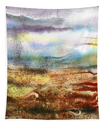 Abstract Landscape Morning Mist Tapestry