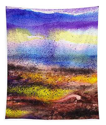 Abstract Landscape Purple Sunrise Yellow Fog Tapestry
