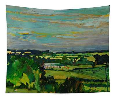 Across The Valley, Bedfordshire, 1973 Oil On Canvas Tapestry