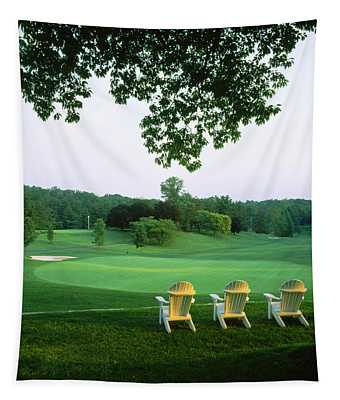 Adirondack Chairs In A Golf Course Tapestry