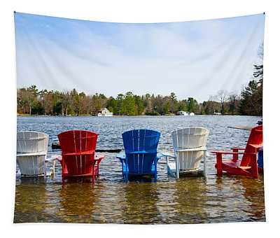 Adirondack Chairs Partially Submerged Tapestry