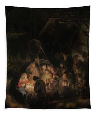 Adoration Of The Shepherds, 1646 Oil On Canvas Tapestry