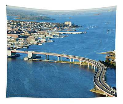 Aerial Of Downtown Portland, Maine Tapestry