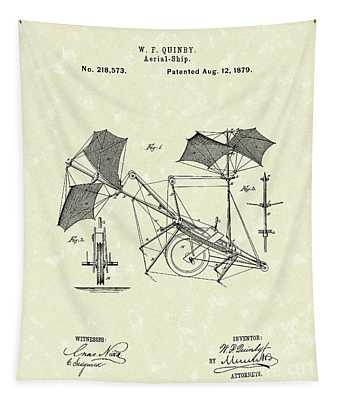 Aerial Ship 1879 Patent Art Tapestry