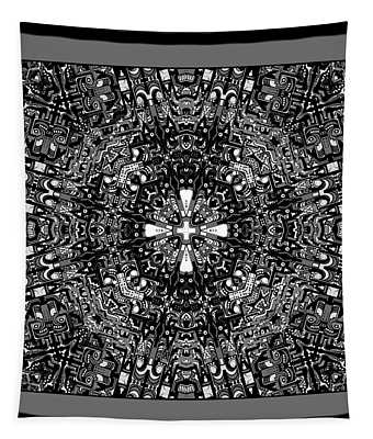Tapestry featuring the digital art Aerial View Kaleidoscope Black And White by Joy McKenzie